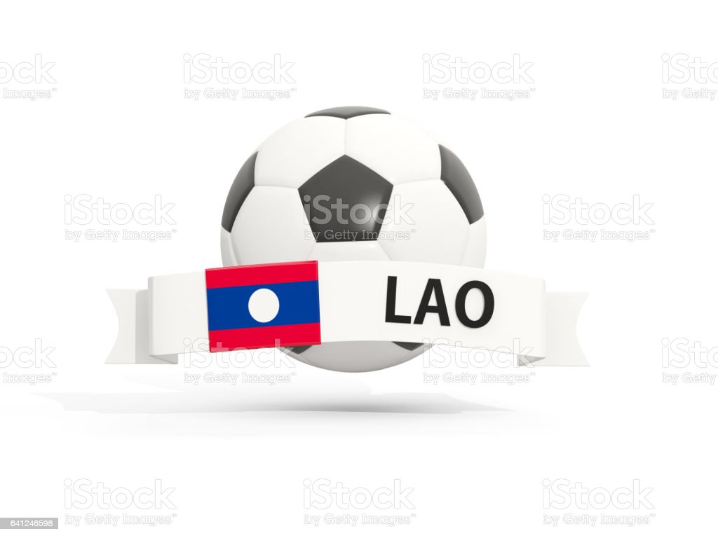 Flag of laos, football with banner and country code stock photo