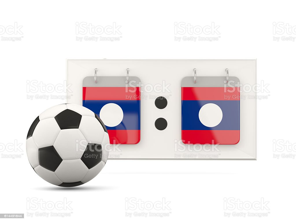 Flag of laos, football with scoreboard stock photo
