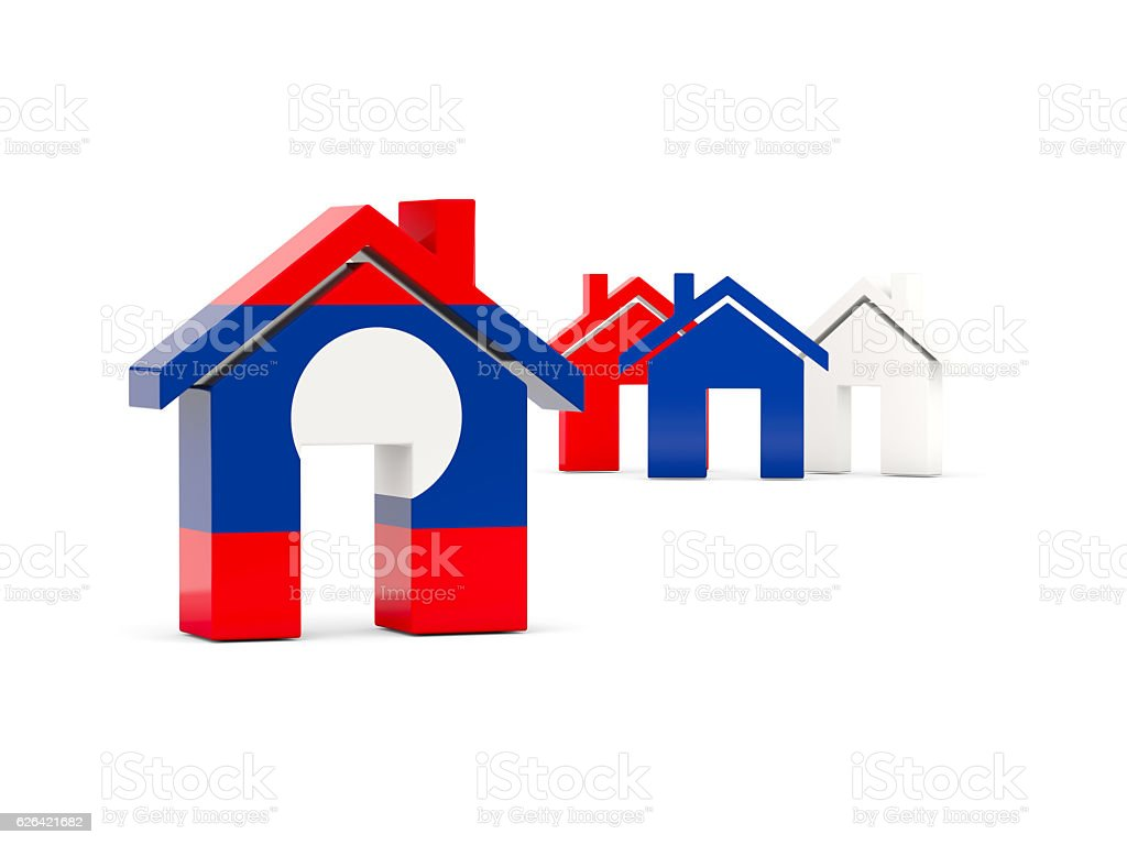 Flag of laos, home icon stock photo