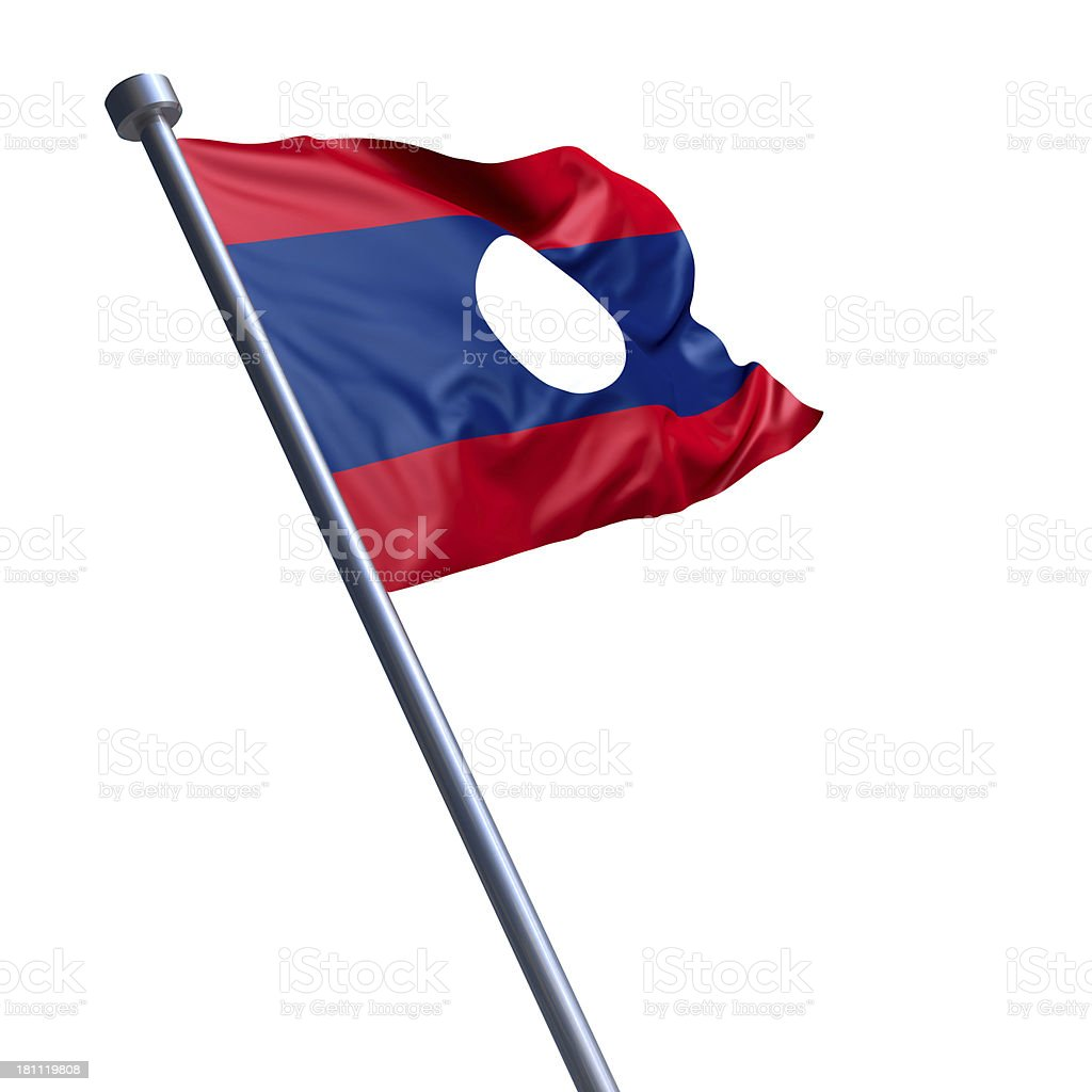 Flag of Laos isolated on white stock photo