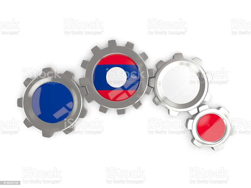 Flag of laos, metallic gears stock photo