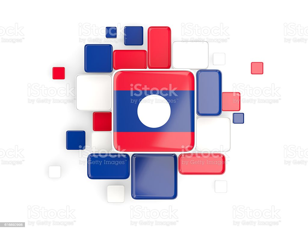 Flag of laos, mosaic background stock photo
