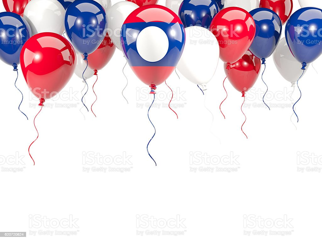 Flag of laos on balloons stock photo