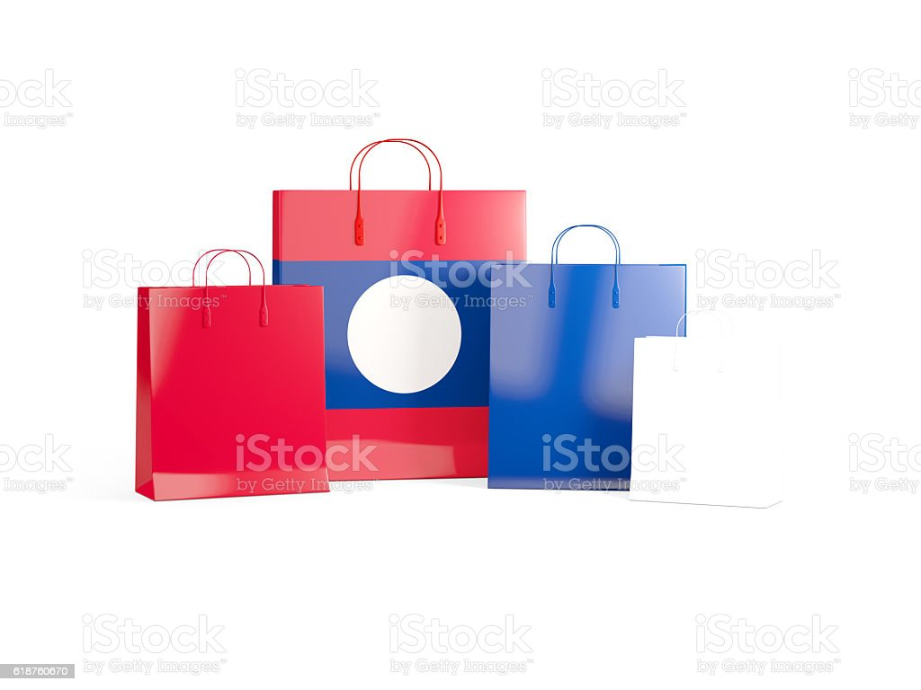 Flag of laos on shopping bags stock photo