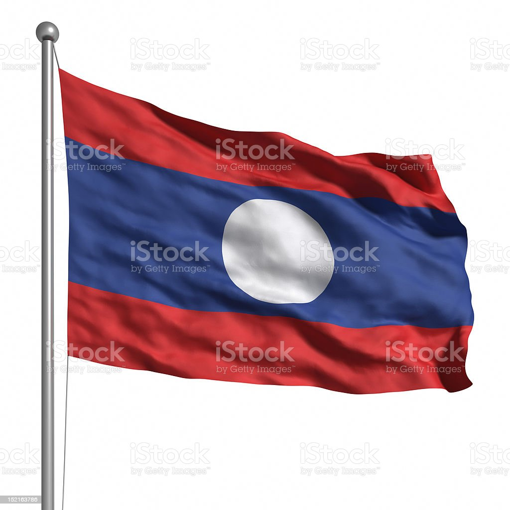 Flag of Laos (Isolated) stock photo