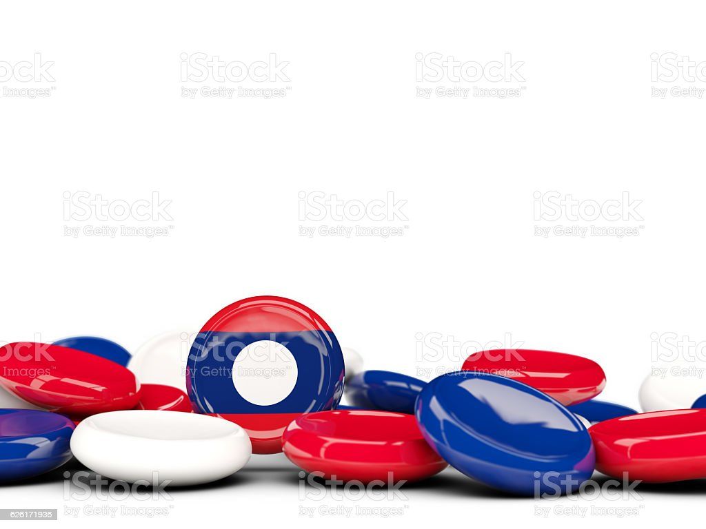 Flag of laos, round buttons stock photo