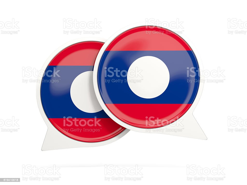 Flag of laos, round chat icon stock photo