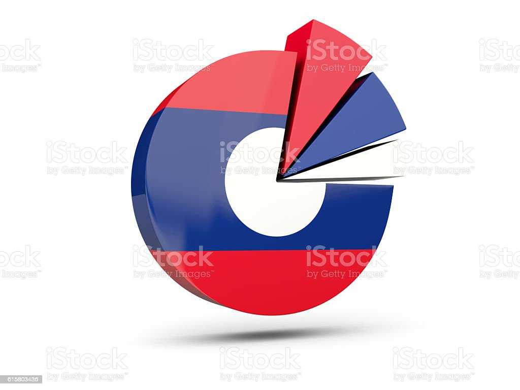 Flag of laos, round diagram icon stock photo