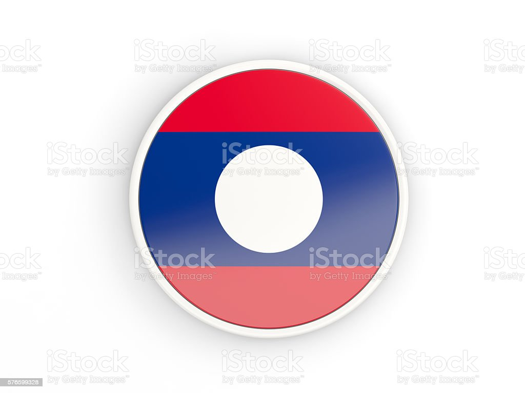Flag of laos. Round icon with frame stock photo