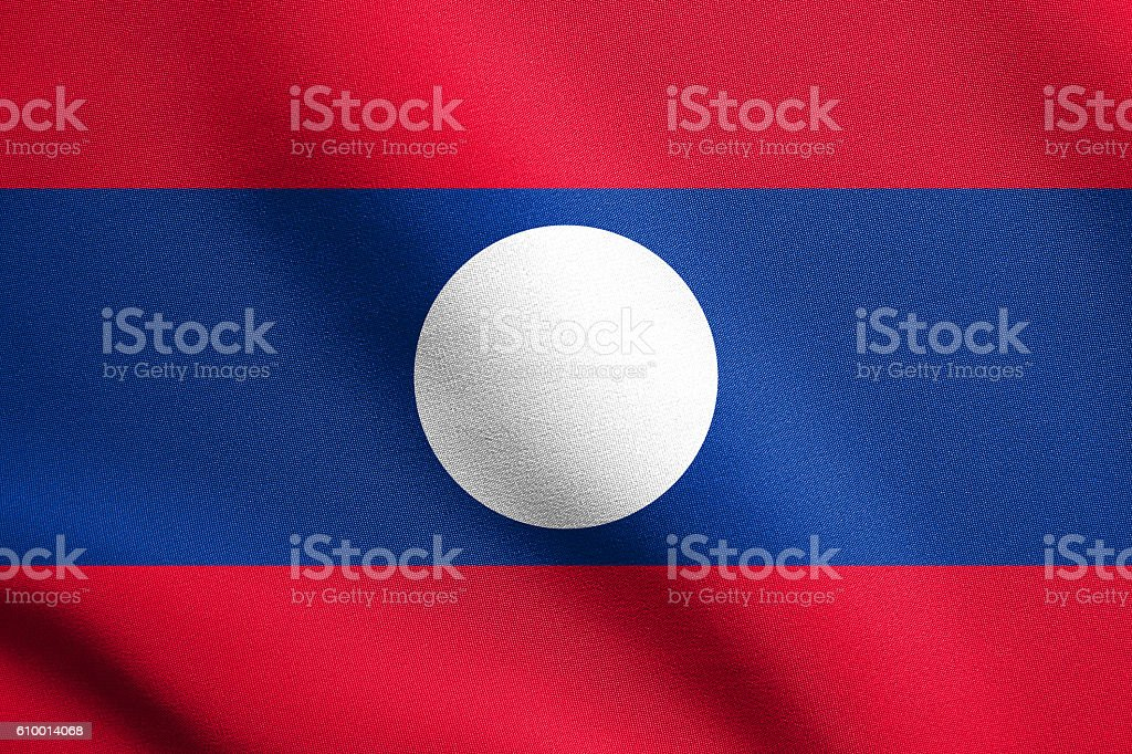 Flag of Laos waving with fabric texture stock photo