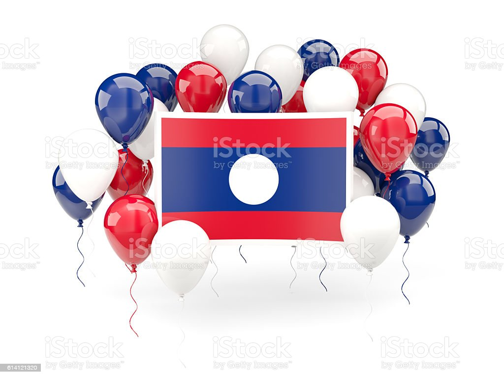 Flag of laos with balloons stock photo