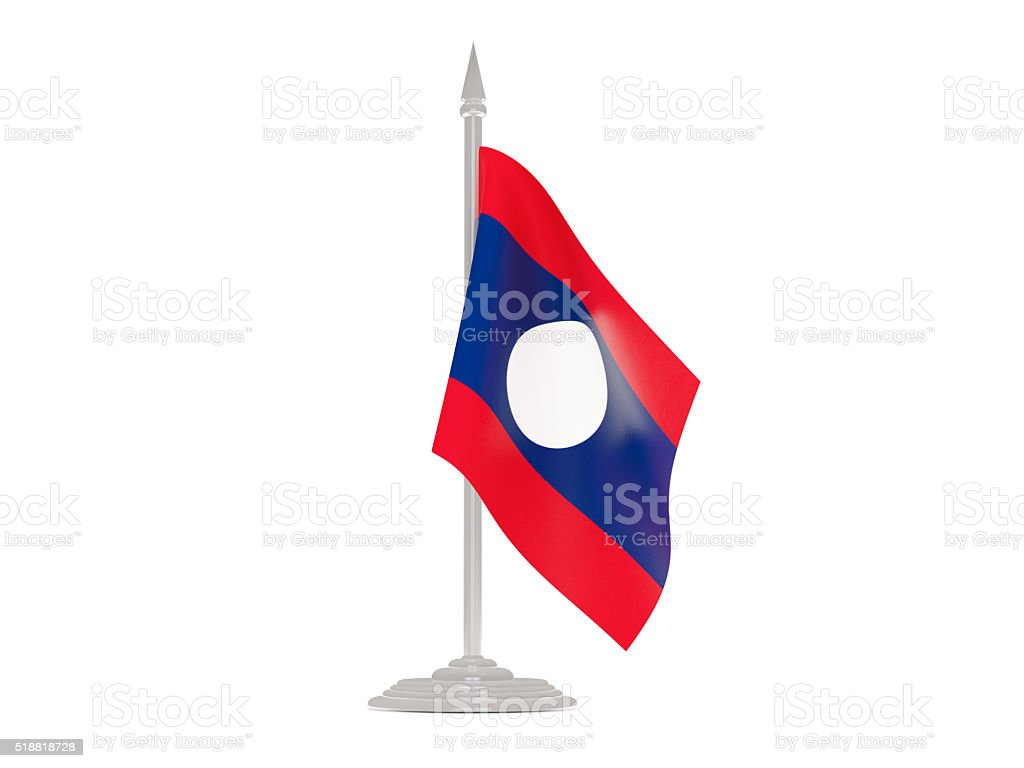 Flag of laos with flagpole. 3d render stock photo