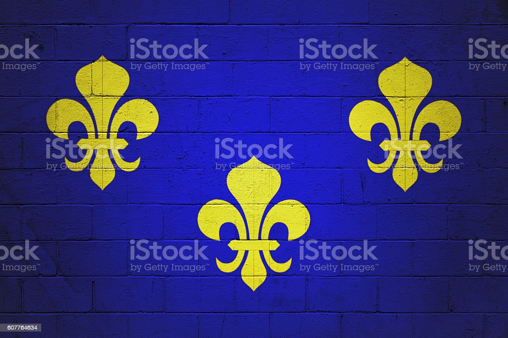 Flag of Île de France painted on a wall stock photo