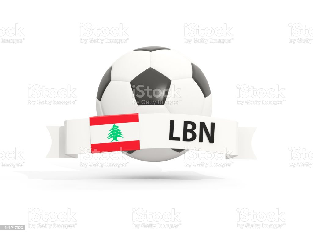 Flag of lebanon, football with banner and country code stock photo