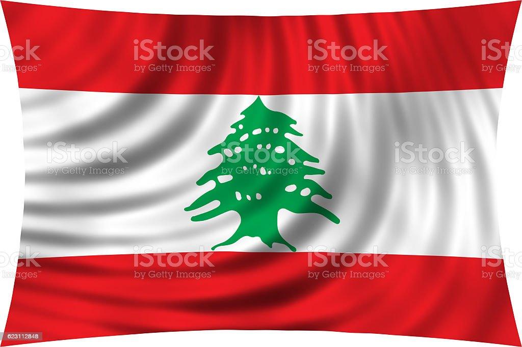 Flag of Lebanon waving isolated on white stock photo