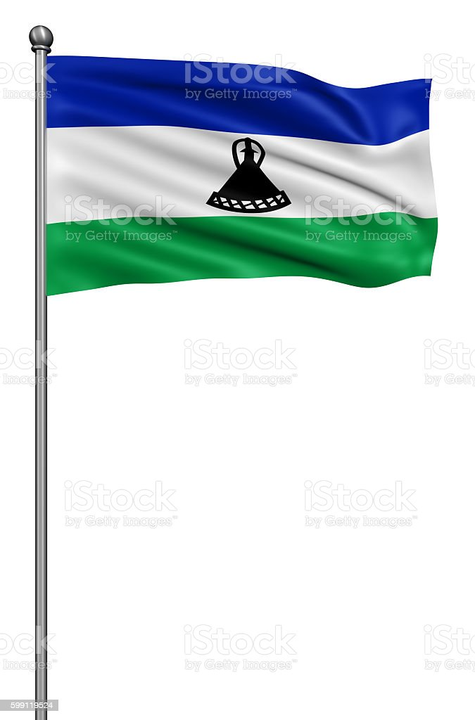 Flag of Lesotho against white background. stock photo
