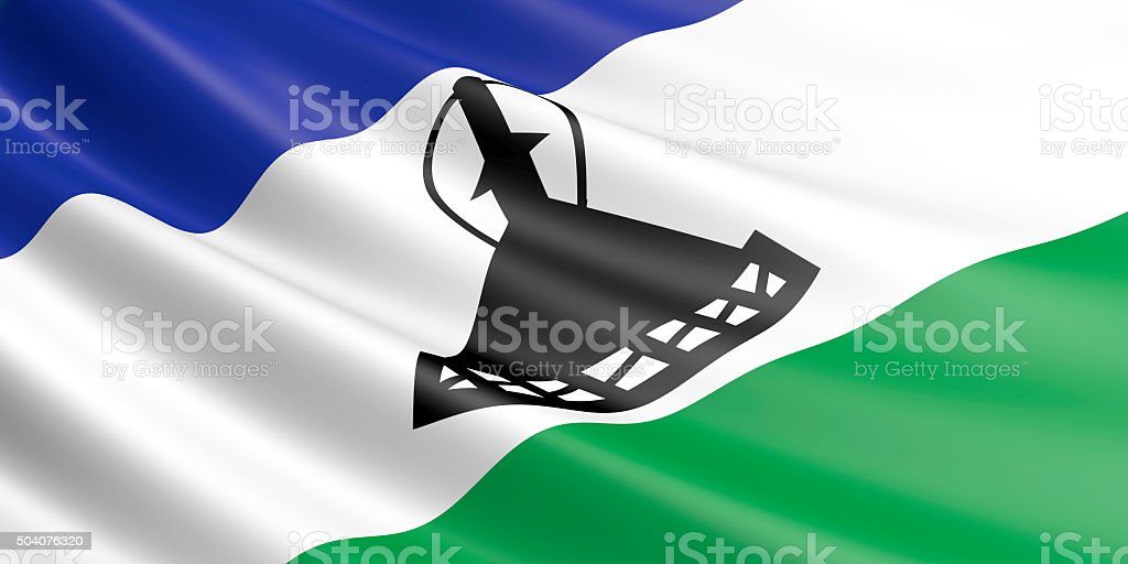 Flag of Lesotho waving in the wind. royalty-free stock photo