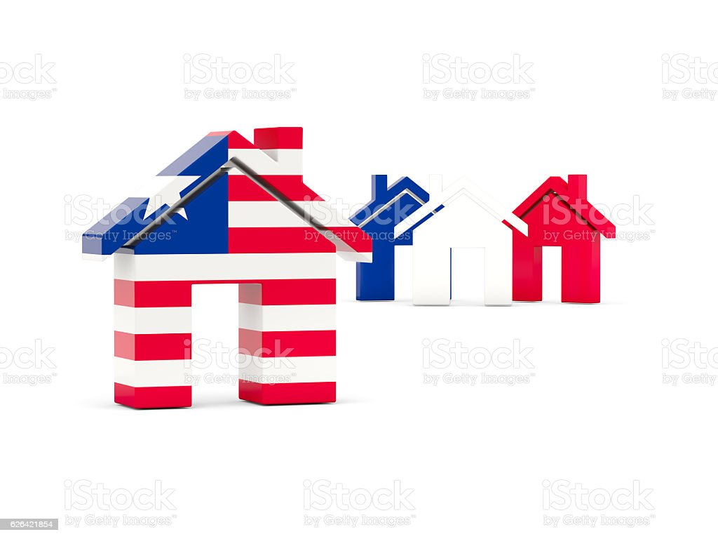Flag of liberia, home icon stock photo
