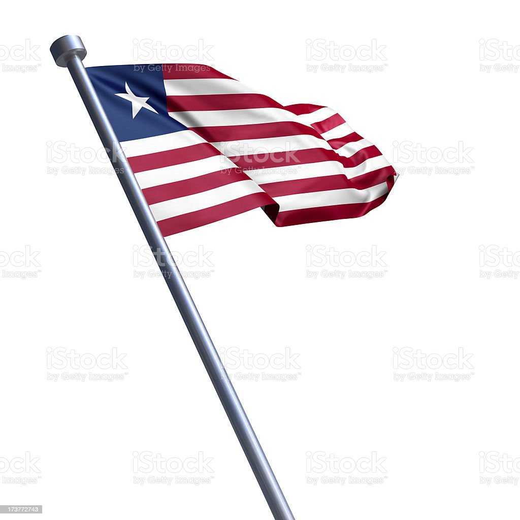 Flag of Liberia isolated on white royalty-free stock photo