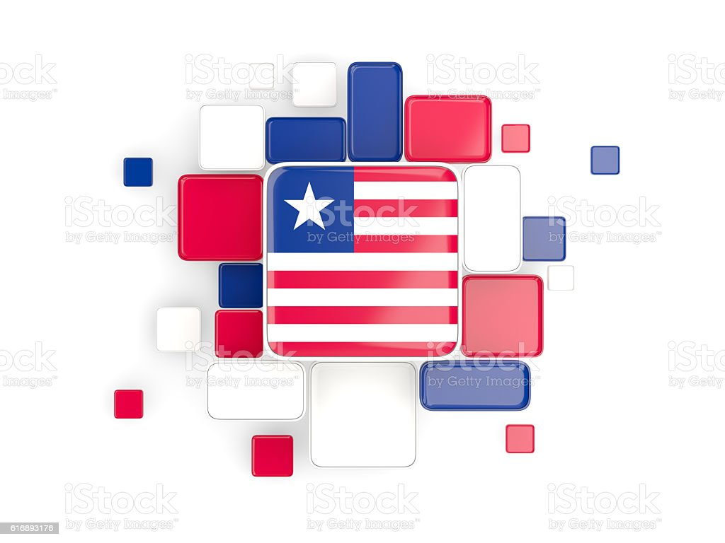 Flag of liberia, mosaic background stock photo