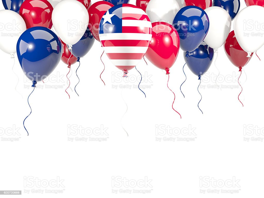 Flag of liberia on balloons stock photo