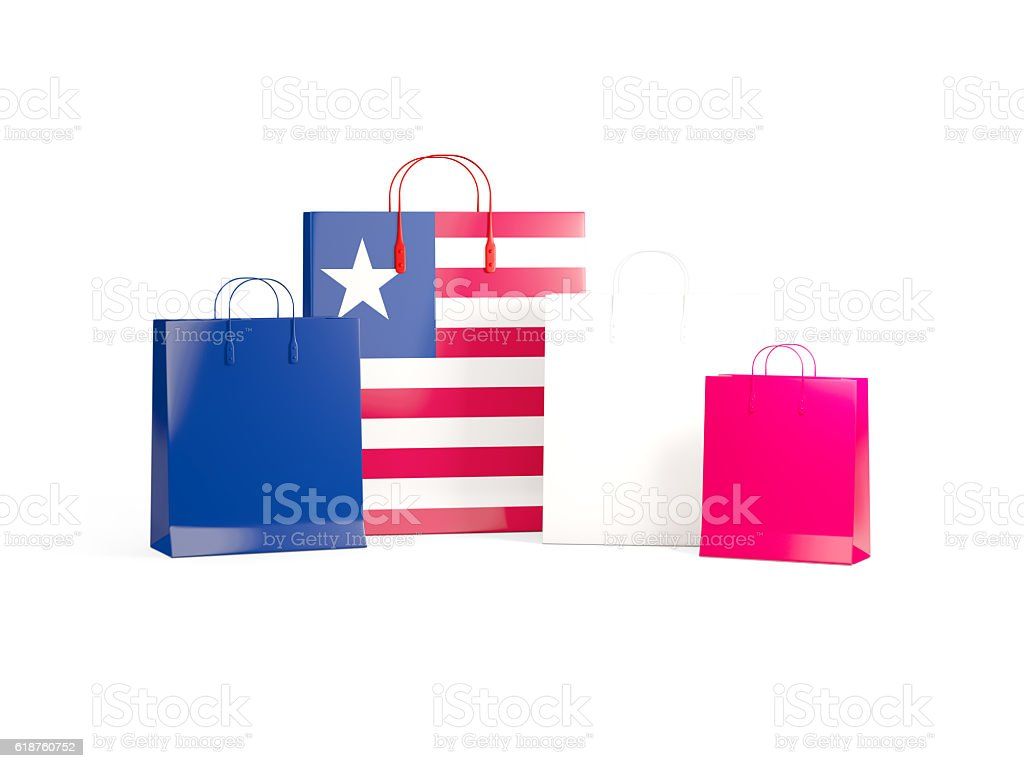 Flag of liberia on shopping bags stock photo