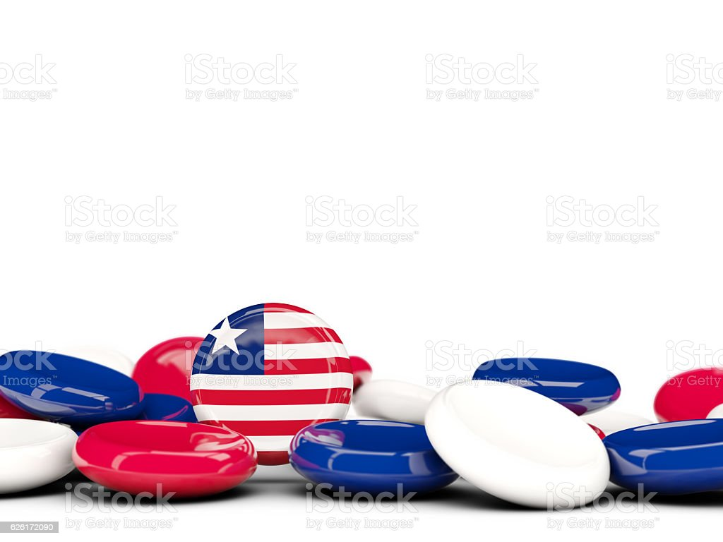 Flag of liberia, round buttons stock photo