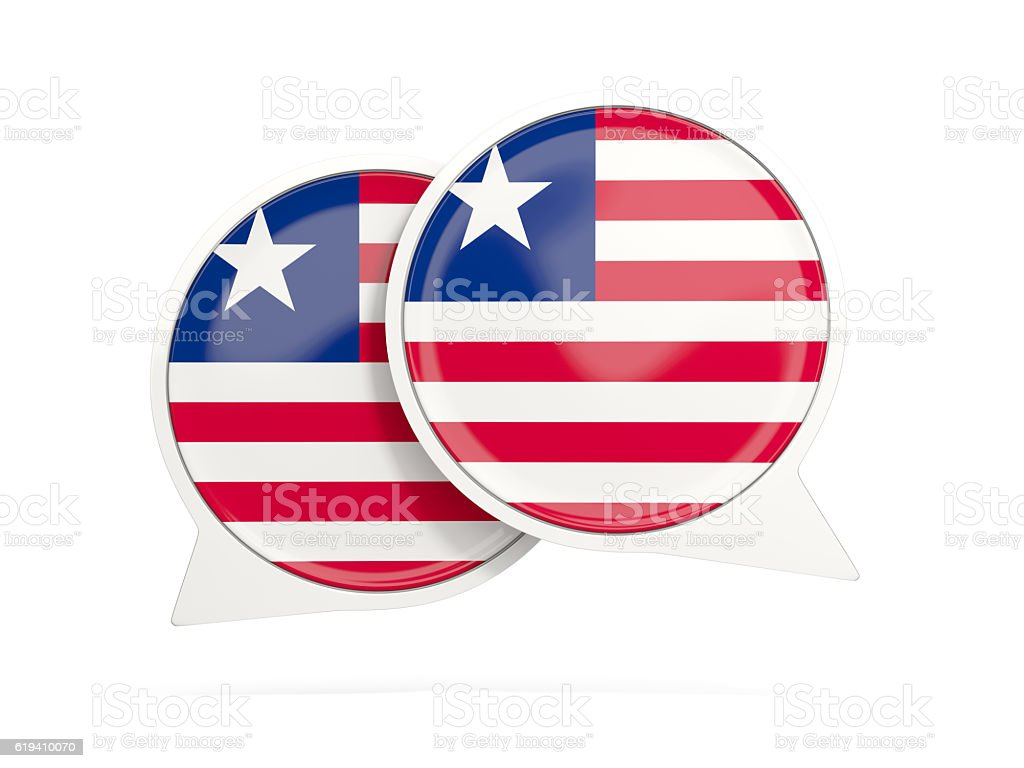 Flag of liberia, round chat icon stock photo