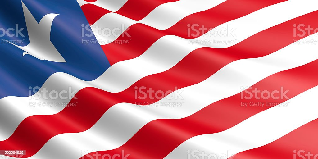 Flag of Liberia waving in the wind. royalty-free stock photo
