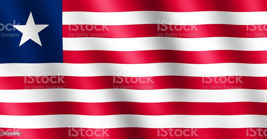 Flag of Liberia waving in the wind stock photo
