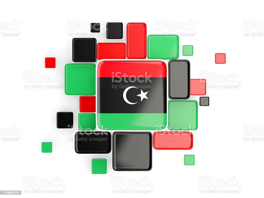 Flag of libya, mosaic background stock photo