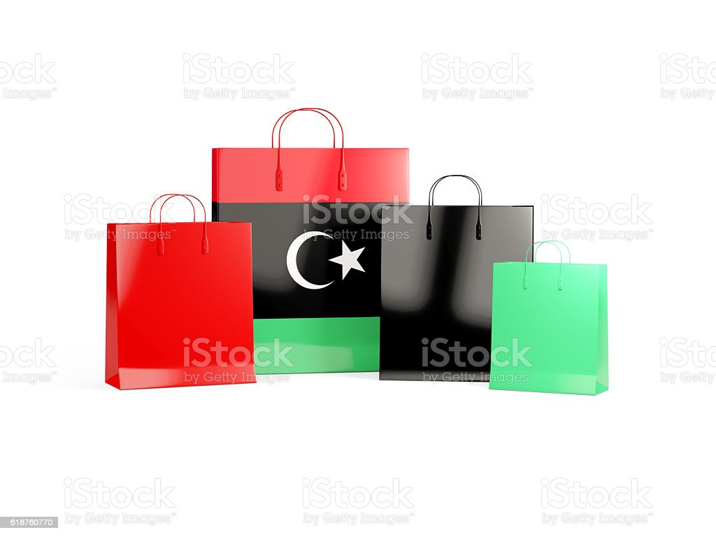 Flag of libya on shopping bags stock photo