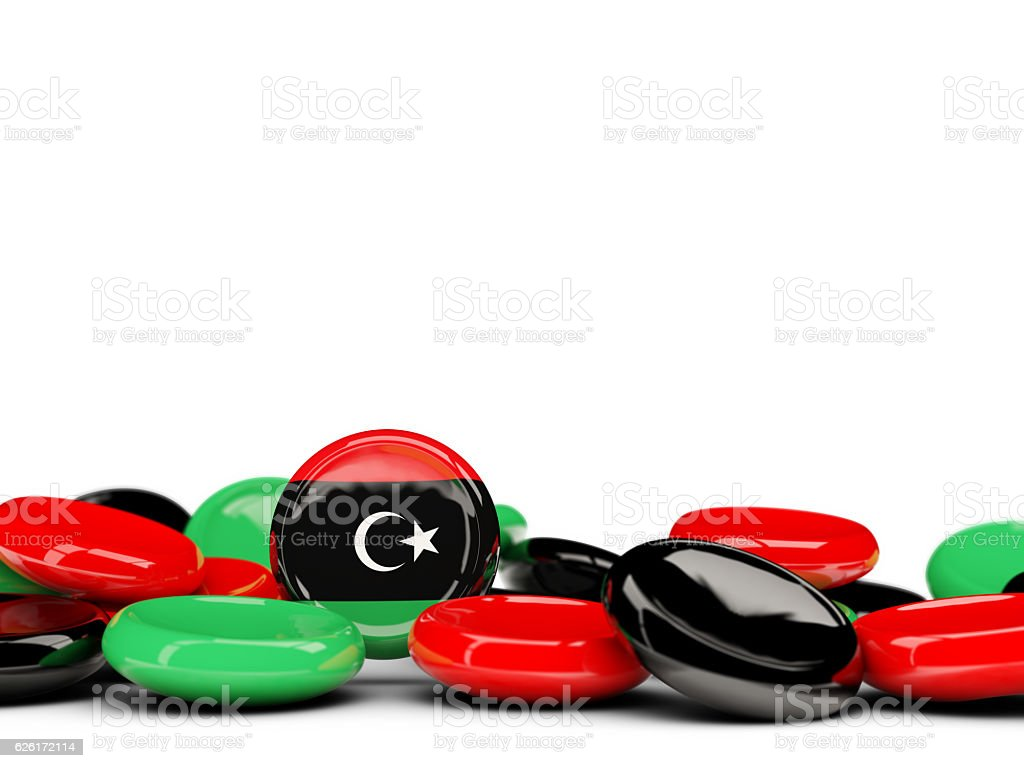 Flag of libya, round buttons stock photo