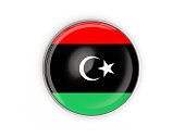 Flag of libya, round icon with metal frame