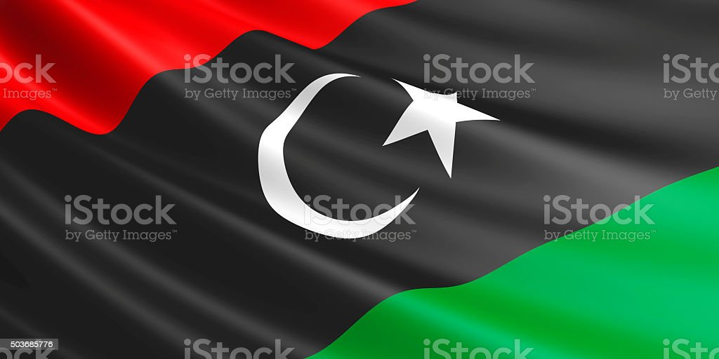 Flag of Libya waving in the wind. royalty-free stock photo
