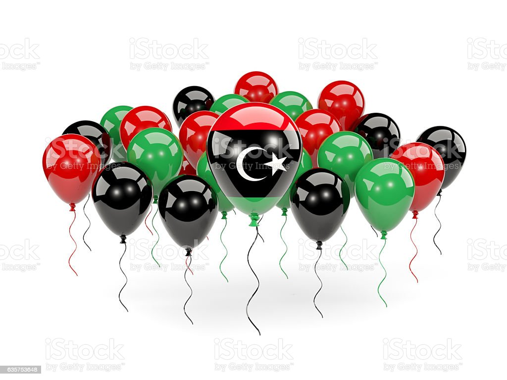 Flag of libya with balloons stock photo