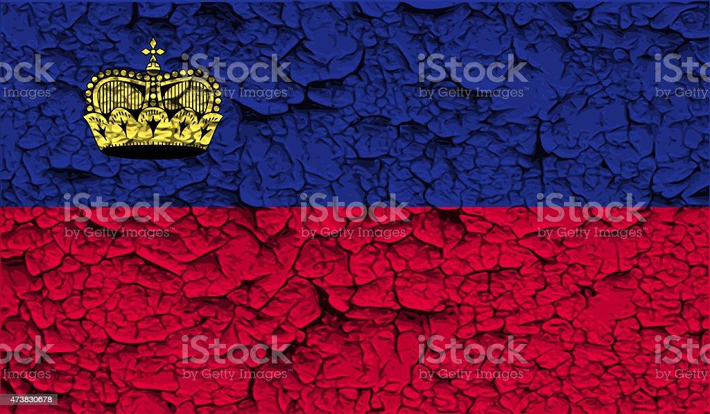 Flag of Liechtenstein with old texture. stock photo
