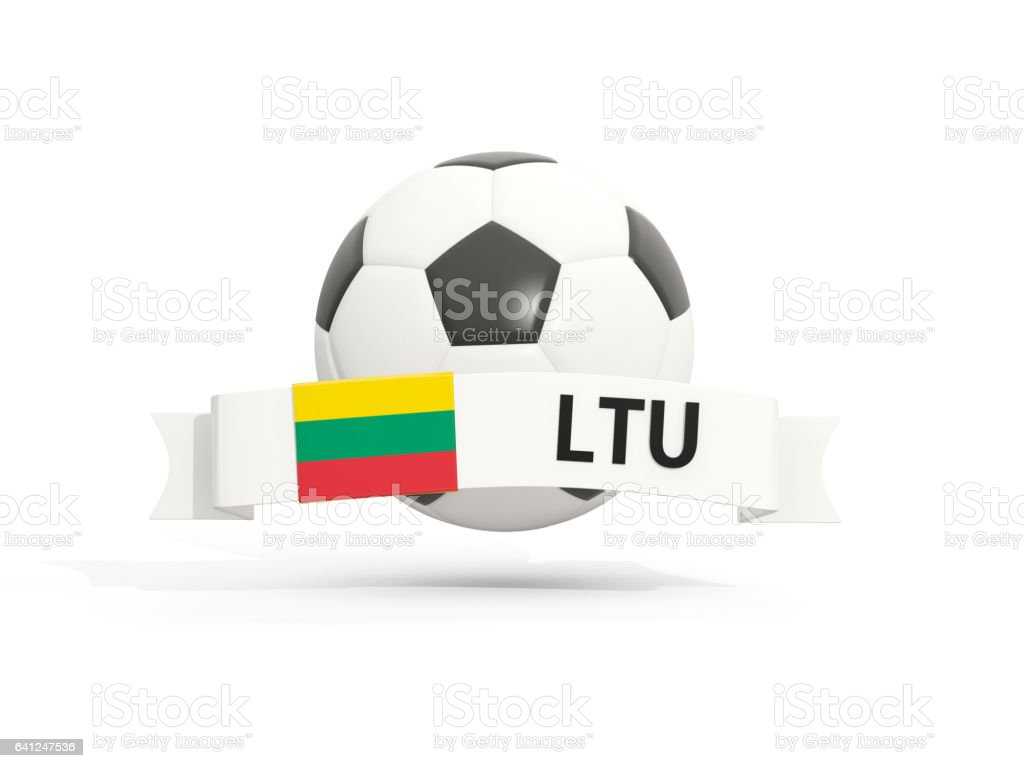 Flag of lithuania, football with banner and country code stock photo