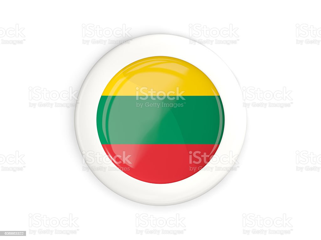 Flag of lithuania, glossy round button stock photo