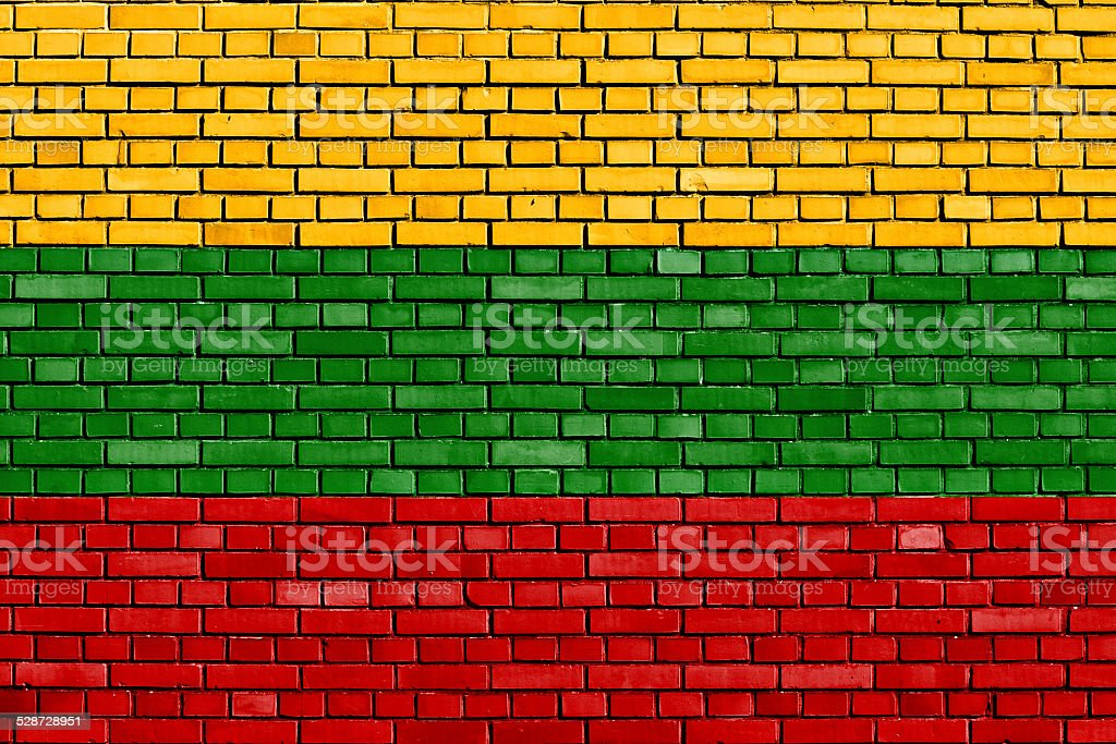 flag of Lithuania painted on brick wall stock photo
