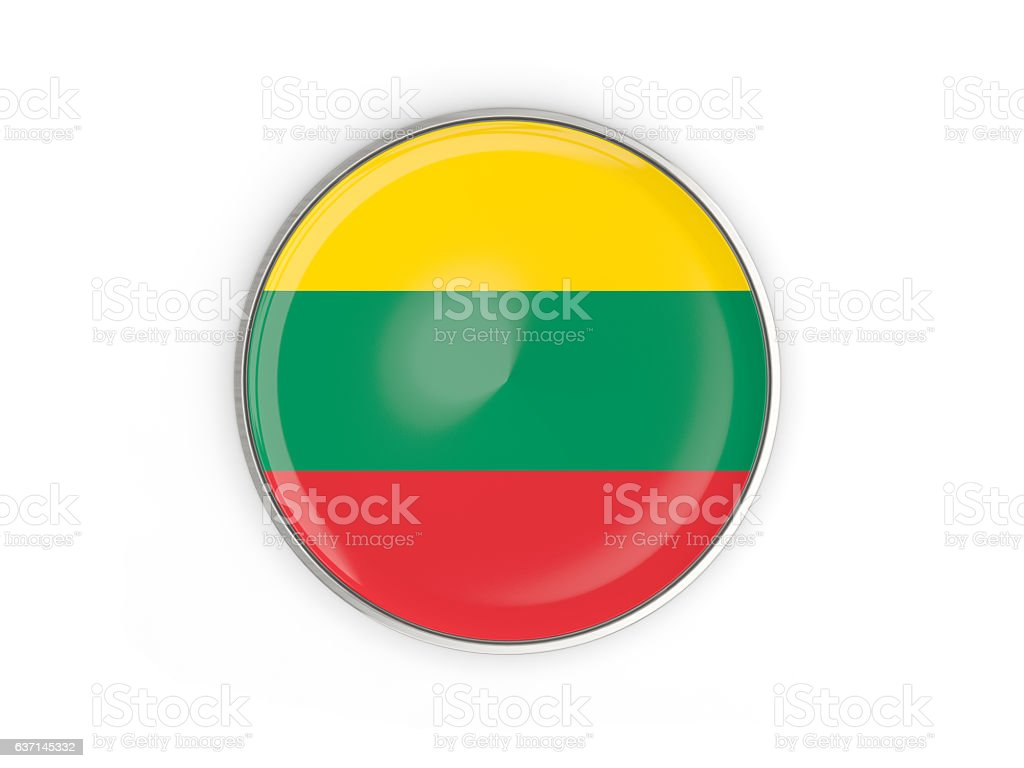 Flag of lithuania, round icon with metal frame stock photo