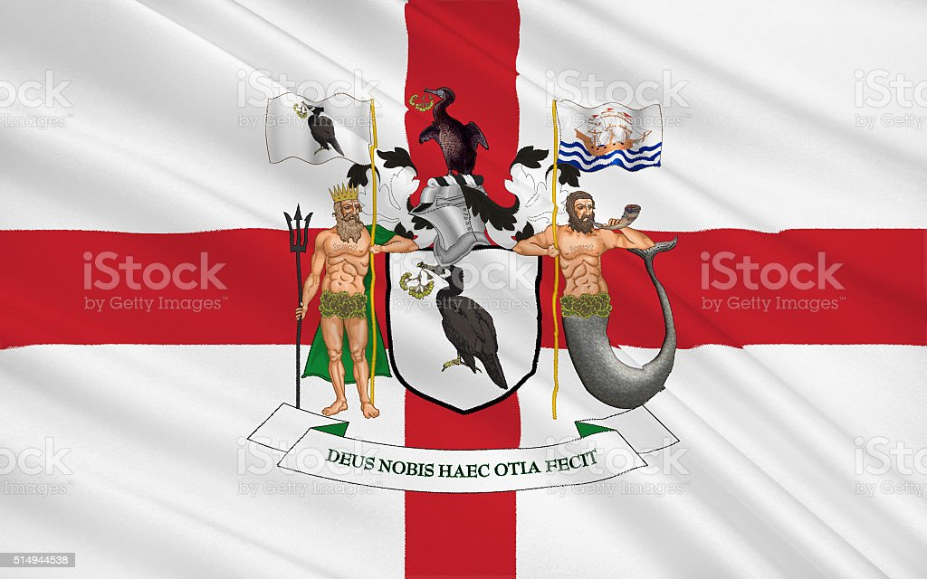 Flag of Liverpool is a city in Merseyside, England stock photo