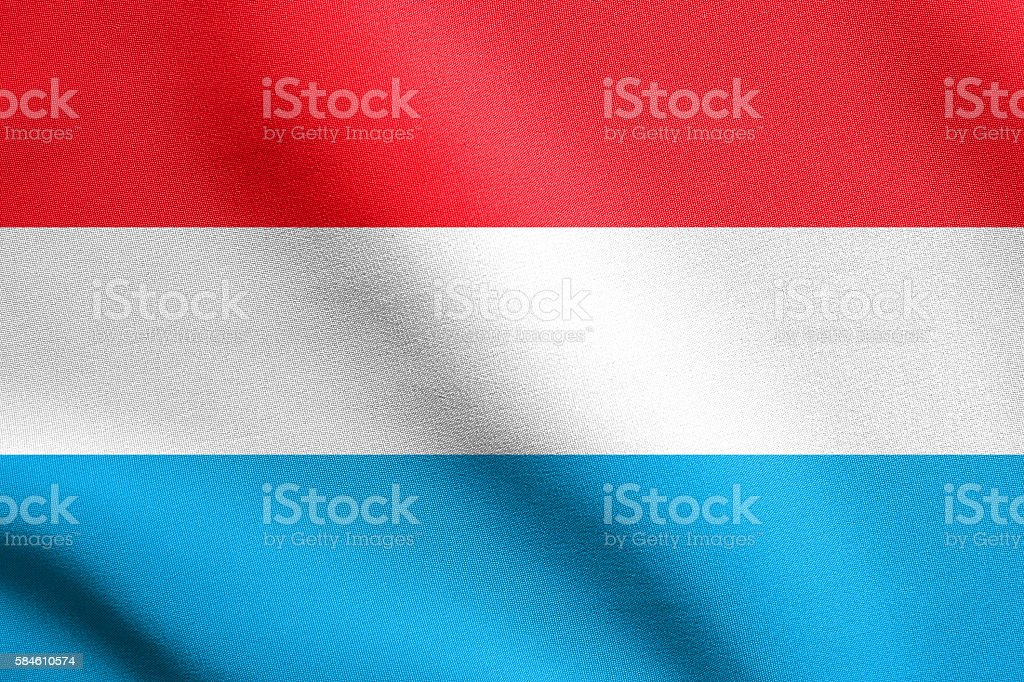 Flag of Luxembourg waving with fabric texture stock photo