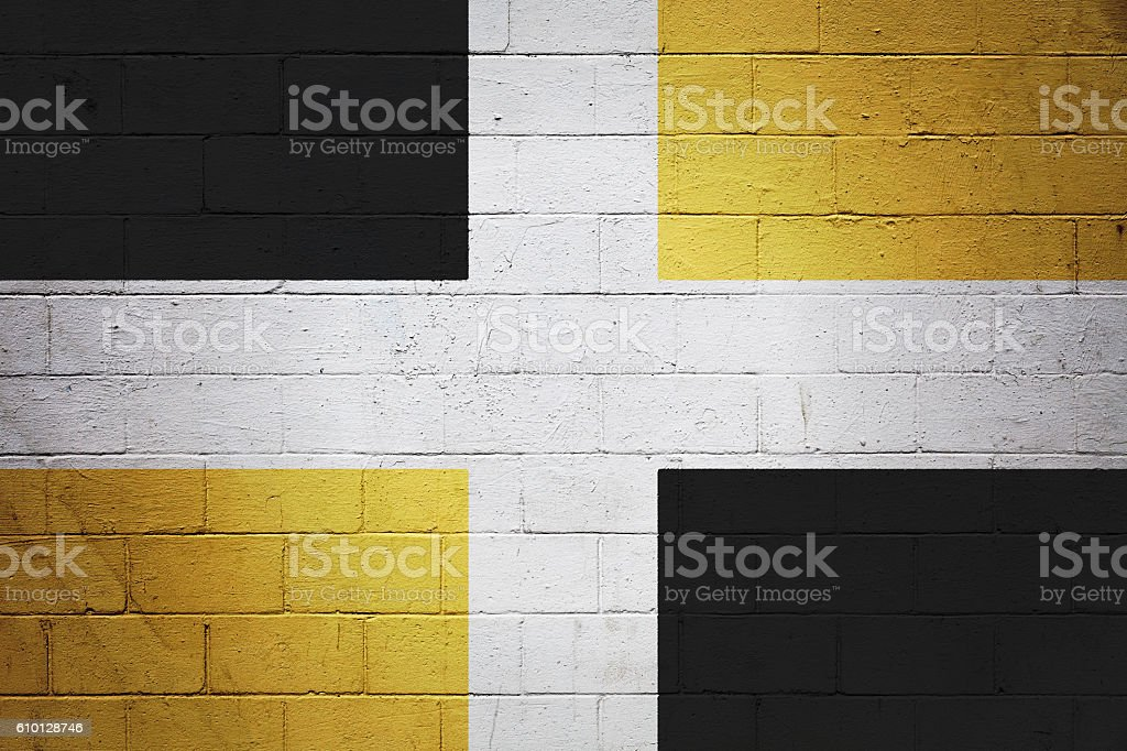 Flag of Lévis painted on a wall stock photo