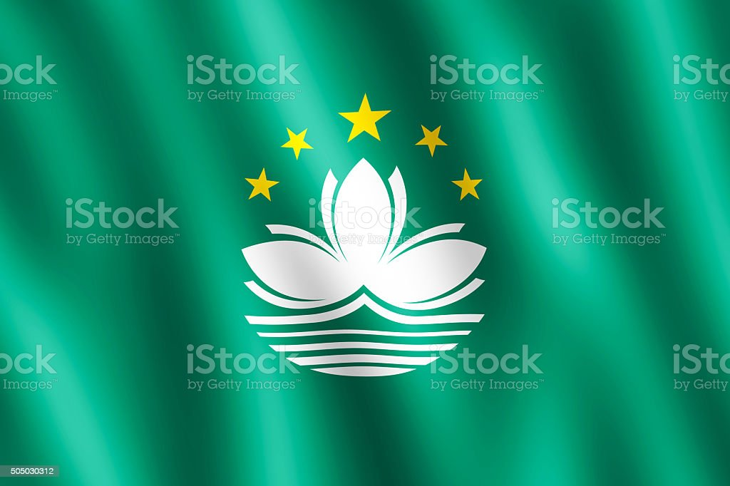 Flag of Macao waving in the wind stock photo