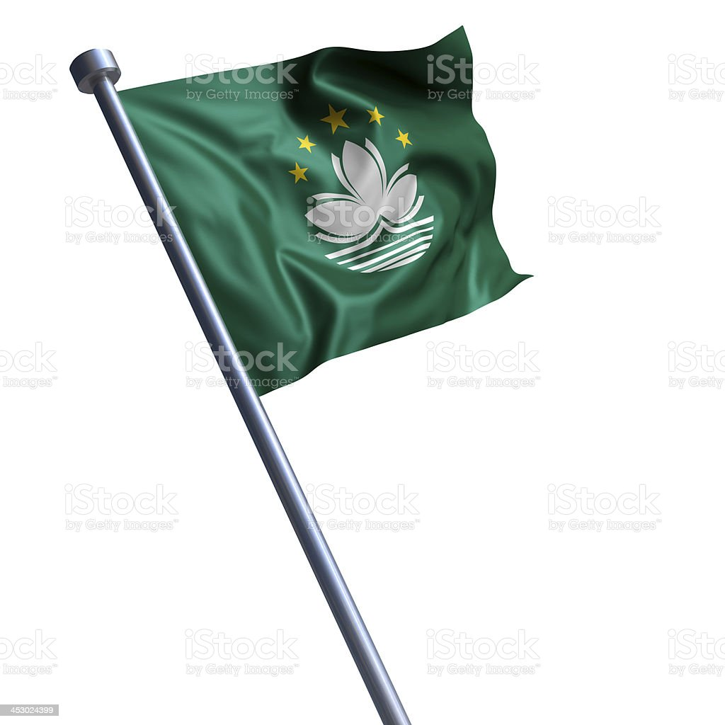 Flag of Macau isolated on white stock photo