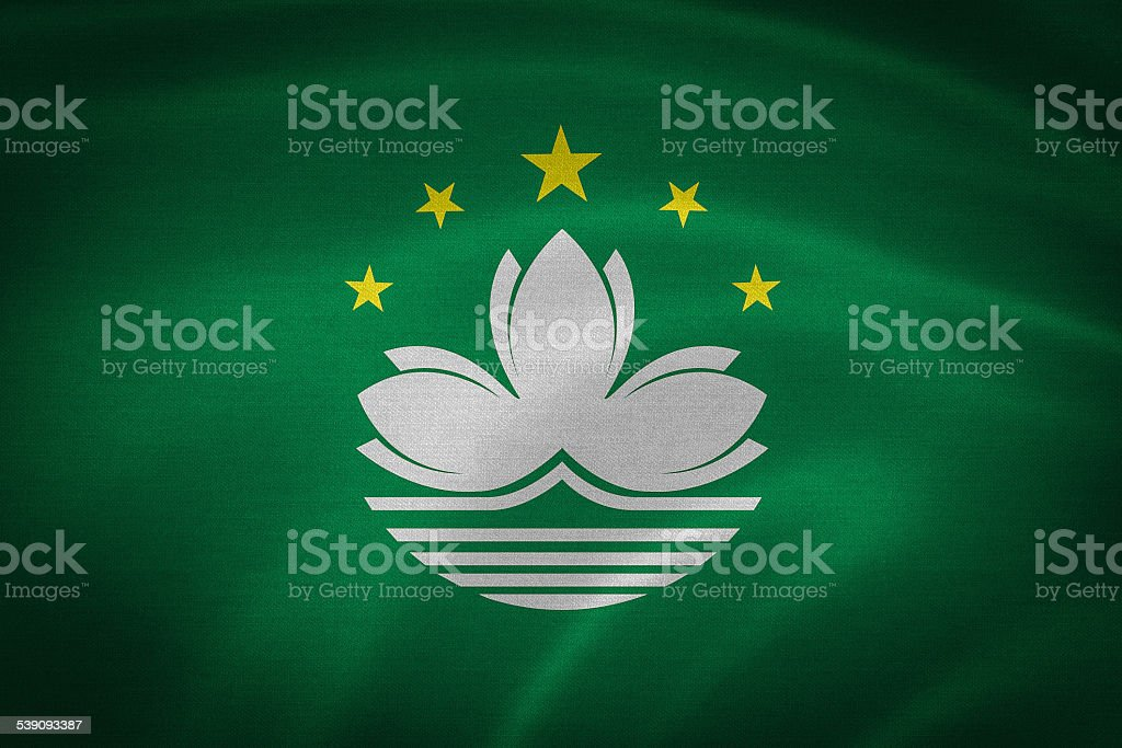 Flag of Macau Special Administrative Region (SAR) stock photo