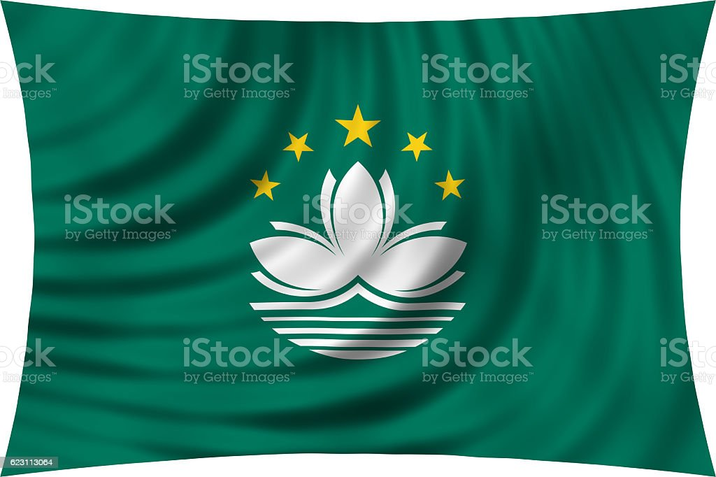 Flag of Macau waving isolated on white stock photo