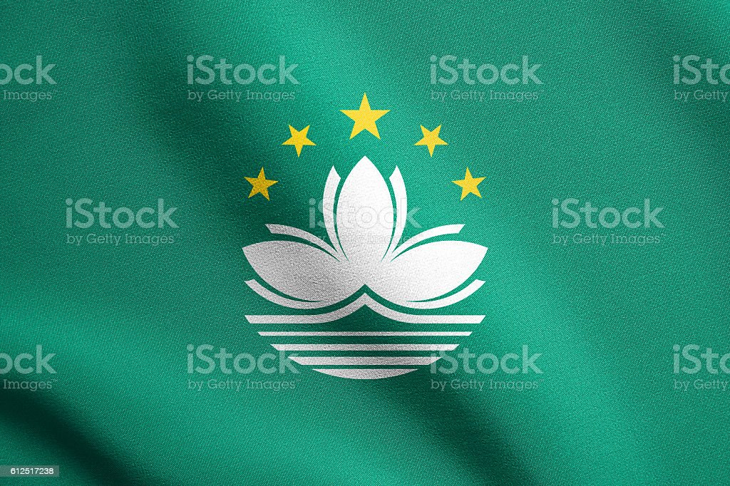Flag of Macau waving with fabric texture stock photo