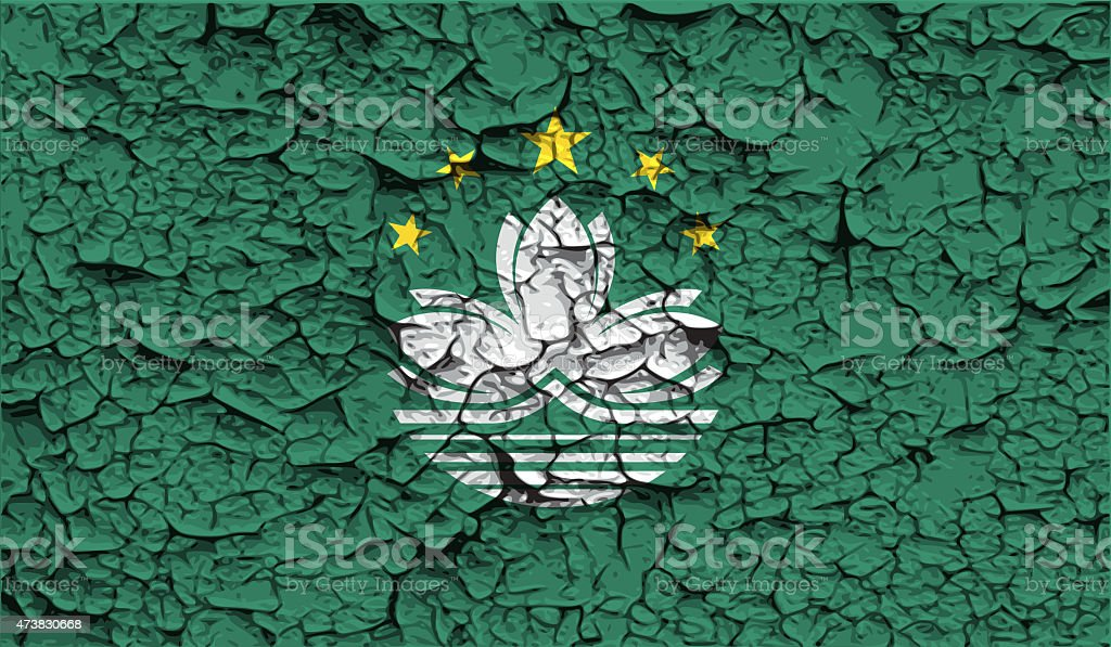 Flag of Macau with old texture. stock photo